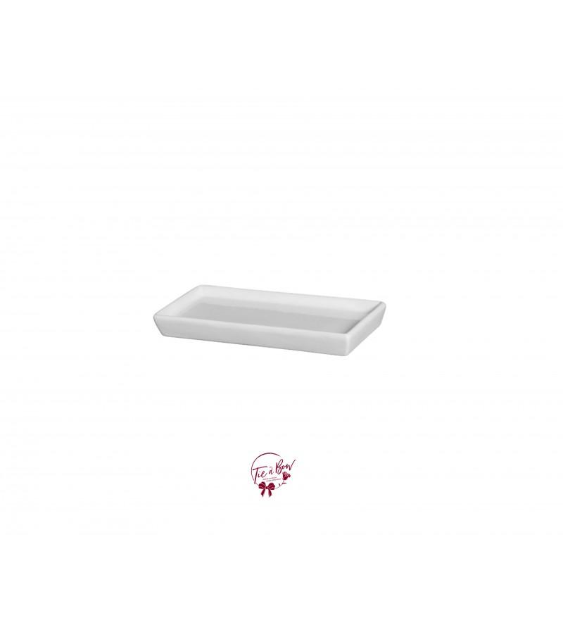 White: White 9 Inches Wide Rectangular Ceramic Tray